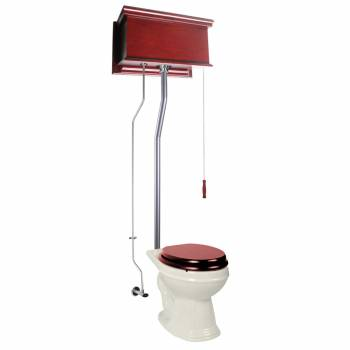 Cherry Wood Flat High Tank Pull Chain Toilet White Elongated Satin Rear Entry21729grid