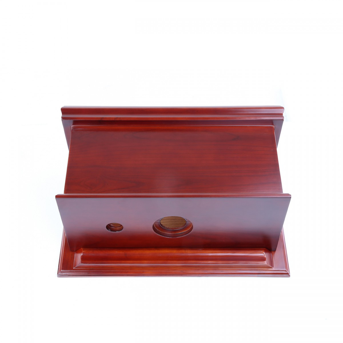 Cherry Wood Flat High Tank Pull Chain Toilet Round Biscuit Satin Rear Entry Pipes Satin High Tank Pull Chain Toilets High Tank Toilet with Round Bowl Pull Chain Toilets