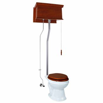 Mahogany Flat High Tank Pull Chain Toilet with White Round Bowl and Satin L-Pipe21734grid