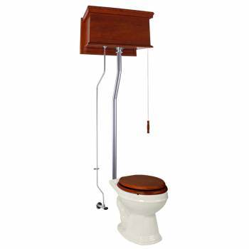 Mahogany Flat High Tank Pull Chain Toilet with Bone Round Bowl and Satin L-Pipe21737grid