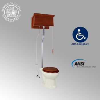 <PRE>Mahogany Flat High Tank Pull Chain Toilet with Elongated Bowl and Satin L-Pipe</PRE>zoom2