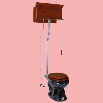 Mahogany Flat High Tank Pull Chain Toilet with Black Round Bowl and Satin LPipe Satin High Tank Pull Chain Toilets High Tank Toilet with Round Bowl Pull Chain Toilets