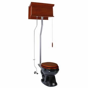 Mahogany Flat High Tank Pull Chain Toilet with Black Round Bowl and Satin L-Pipe21740grid