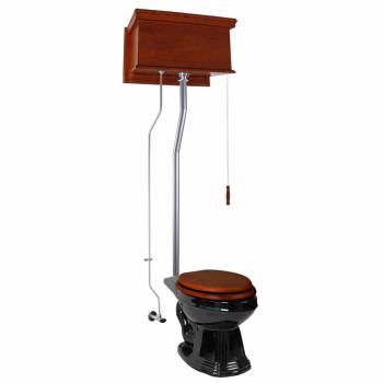 Mahogany Flat High Tank Pull Chain Toilet with Elongated Bowl and Satin LPipe Satin High Tank Pull Chain Toilets High Tank Toilet with Elongated Bowl Old Fashioned Toilet