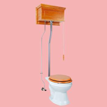 Light Oak Raised High Tank Pull Chain Toilet with White Round Bowl and Satin LPipe High Tank Pull Chain Toilets Round Bowl High Tank Toilet Old Fashioned Toilet