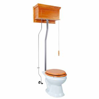 Light Oak Raised High Tank Pull Chain Toilet with White Round Bowl & Satin LPipe21743grid