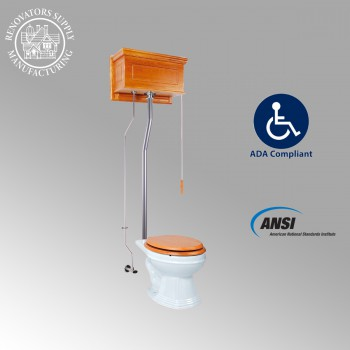 Light Oak Raised High Tank Pull Chain Toilet with Elongated Bowl and Satin ZPipe Satin High Tank Pull Chain Toilets High Tank Toilet with Elongated Bowl Old Fashioned Toilet