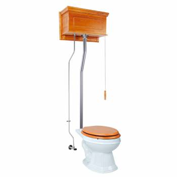 Light Oak Raised High Tank Pull Chain Toilet with Elongated Bowl & Satin Z-Pipe21745grid