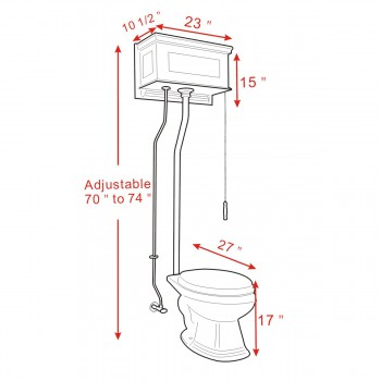 spec-<PRE>Light Oak Raised High Tank Pull Chain Toilet with Elongated Bowl & Satin Z-Pipe</PRE>