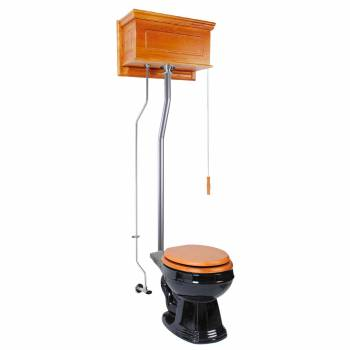 Light Oak Raised High Tank Pull Chain Toilet with Black Round Bowl and Satin ZPipe Satin High Tank Pull Chain Toilets High Tank Toilet with Round Bowl Pull Chain Toilets