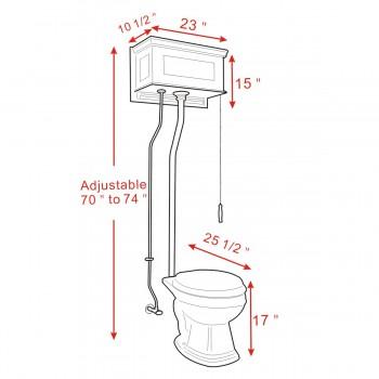 spec-<PRE>Light Oak Raised High Tank Pull Chain Toilet with Black Round Bowl & Satin ZPipe</PRE>