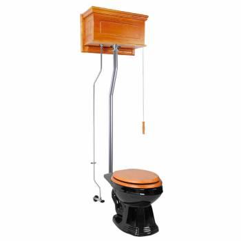 Light Oak Raised High Tank Toilet with Black Elongated Bowl & Satin Z-Pipe21749grid