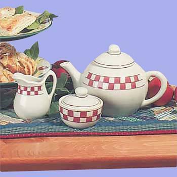 <PRE>Stoneware Teapot 64oz White/Red Creamer/Sugar Dish Checker </PRE>zoom2