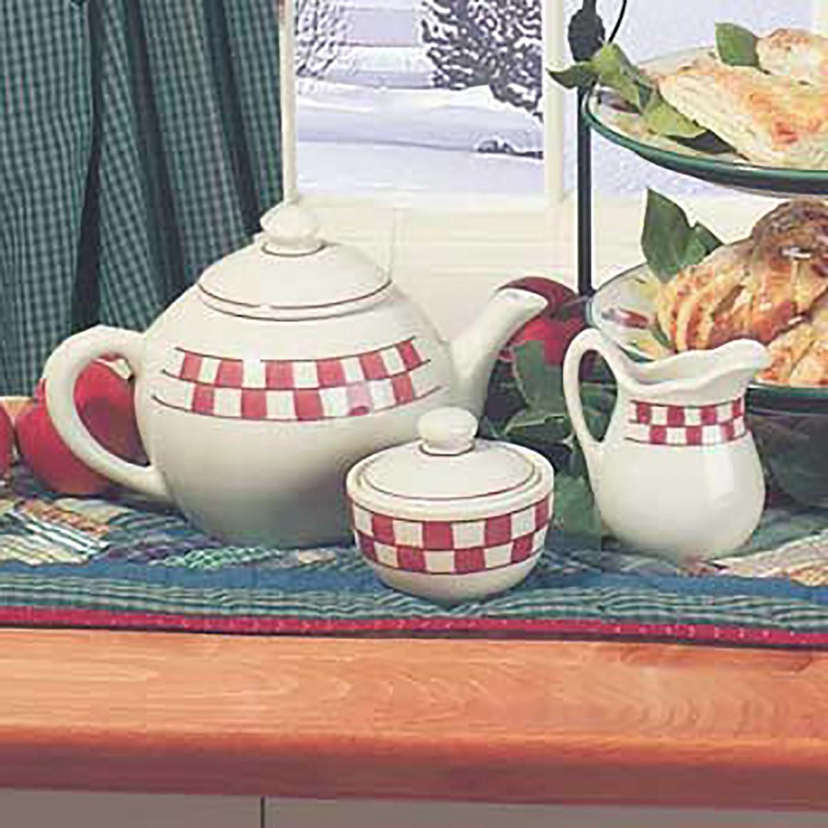Stoneware Teapot 64oz WhiteRed CreamerSugar Dish Checker Tea Pot Tea Pots Teapot