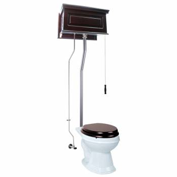 Dark Oak Raised High Tank Pull Chain Toilet with White Round Bowl & Satin L-Pipe21751grid