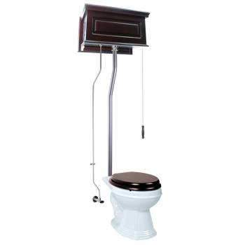 High Tank Toilets Dark Oak Raised Tank Elongated High Tank Toilet21752grid