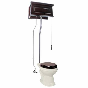 Dark Oak Raised High Tank Pull Chain Toilet with Bone Round Bowl & Satin L-Pipe21753grid