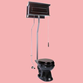 Dark Oak Raised High Tank Pull Chain Toilet with Black Round Bowl and Satin LPipe Satin High Tank Pull Chain Toilets High Tank Toilet with Round Bowl Pull Chain Toilets