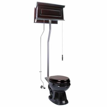 Dark Oak Raised High Tank Pull Chain Toilet with Black Round Bowl & Satin L-Pipe21755grid