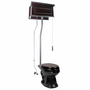Dark Oak Raised High Tank Pull Chain Toilet with Elongated Bowl & Satin L-Pipe21756grid