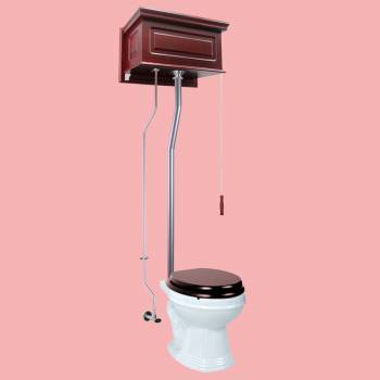 <PRE>Cherry Wood Raised High Tank Pull Chain Toilet Round White Satin Rear Entry</PRE>zoom2