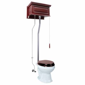 Cherry Wood Raised High Tank Pull Chain Toilet Round White Satin Rear Entry21757grid