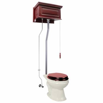 Cherry Wood Raised High Tank Pull Chain Toilet Bone Elongated Satin Rear Entry21760grid