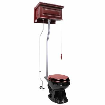 Cherry Wood Raised High Tank Pull Chain Toilet Black Elongated Satin Rear Entry21762grid