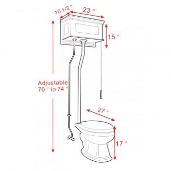 spec-<PRE>Cherry Wood Raised High Tank Pull Chain Toilet Black Elongated Satin Rear Entry</PRE>