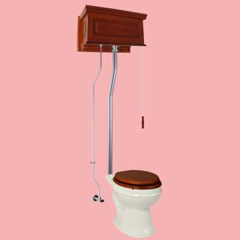 Mahogany Raised High Tank Pull Chain Toilet with Biscuit Round Bowl and Satin ZPipe Satin High Tank Pull Chain Toilets High Tank Toilet with Round Bowl Pull Chain Toilets