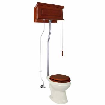 Mahogany Raised High Tank Pull Chain Toilet with Bone Round Bowl & Satin Z-Pipe21765grid