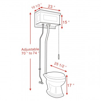 spec-<PRE>Mahogany Raised High Tank Pull Chain Toilet with Bone Round Bowl & Satin Z-Pipe</PRE>