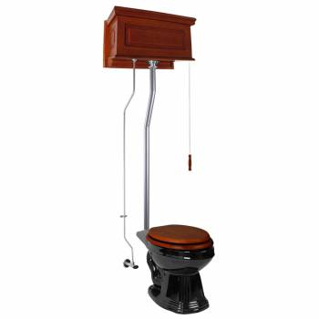 <PRE>Mahogany Raised High Tank Pull Chain Toilet with Elongated Bowl and Satin Z-Pipe</PRE>zoom1
