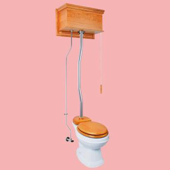 <PRE>Light Oak Flat High Tank Pull Chain Toilet with White Round Bowl & Satin Z-Pipe</PRE>zoom2