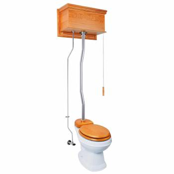 Light Oak Flat High Tank Pull Chain Toilet with White Round Bowl & Satin Z-Pipe21769grid