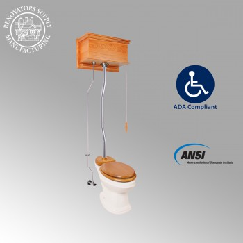 <PRE>Light Oak Flat High Tank Pull Chain Toilet with Elongated Bowl & Satin Z-Pipe</PRE>zoom2