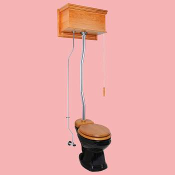 <PRE>Light Oak Flat High Tank Pull Chain Toilet with Black Round Bowl & Satin Z-Pipe</PRE>zoom2
