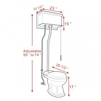 spec-<PRE>Light Oak Flat High Tank Pull Chain Toilet with Black Round Bowl & Satin Z-Pipe</PRE>