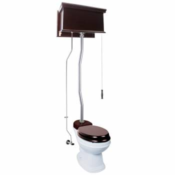 Dark Oak Flat High Tank Pull Chain Toilet with White Round Bowl and Satin Z-Pipe21776grid