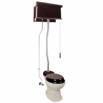 Dark Oak Flat High Tank Pull Chain Toilet with Bone Round Bowl and Satin Z-Pipe21778grid
