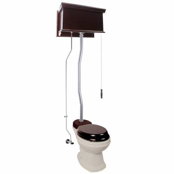 Dark Oak Flat High Tank Pull Chain Toilet with Elongated Bowl & Satin Z-Pipe21779grid