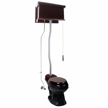 Dark Oak Flat High Tank Pull Chain Toilet with Black Round Bowl and Satin Z-Pipe21780grid