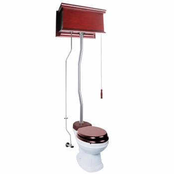 Cherry Wood Flat High Tank Pull Chain Toilet White Round Bowl Satin Top Entry Satin High Tank Pull Chain Toilets High Tank Toilet with Round Bowl Pull Chain Toilets