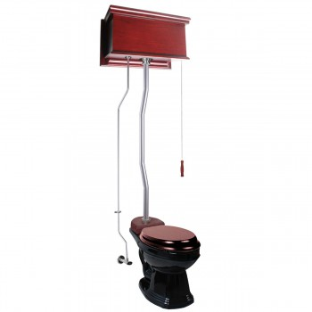 Cherry Wood Flat High Tank Pull Chain Toilet Black Elongated Satin Top Entry21787grid