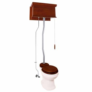 Mahogany Flat High Tank Pull Chain Toilet with White Round Bowl and Satin Z-Pipe21790grid