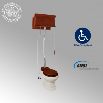 <PRE>Mahogany Flat High Tank Pull Chain Toilet with Elongated Bowl & Satin Z Pipe</PRE>zoom2