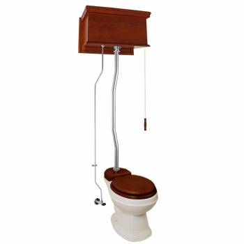 Mahogany Flat High Tank Pull Chain Toilet with Elongated Bowl & Satin Z Pipe21791grid