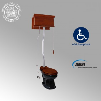 <PRE>Mahogany Flat High Tank Pull Chain Toilet with Elongated Bowl and Satin Z-Pipe</PRE>zoom2