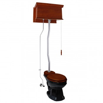 Mahogany Flat High Tank Pull Chain Toilet with Elongated Bowl and Satin ZPipe Satin High Tank Pull Chain Toilets High Tank Toilet with Elongated Bowl Old Fashioned Toilet