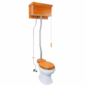 Light Oak High Tank Pull Chain Toilet With Round White Porcelain Bowl and Satin ZPipe Satin High Tank Pull Chain Toilets High Tank Toilet with Round Bowl Pull Chain Toilets